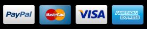 logos de tarjetas de crédito y PayPal
